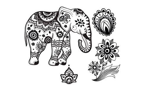 Мехенди слон эскиз