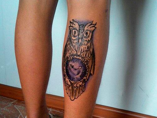 Мехенди сова на ноге