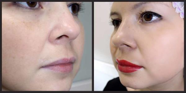 растушевка губ до и после