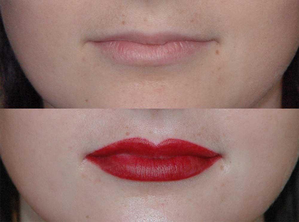 увеличение тонких губ татуажем