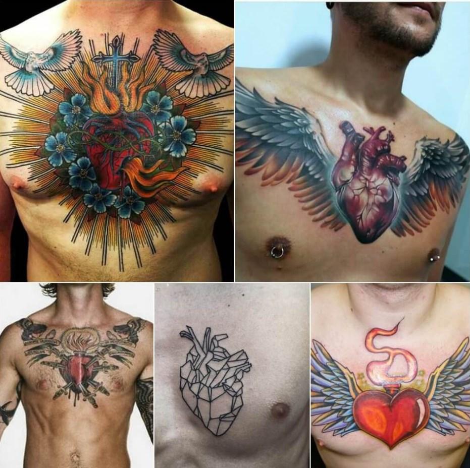мужские тату на груди сердце