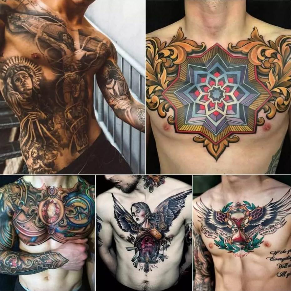 мужские тату на груди Абстракция