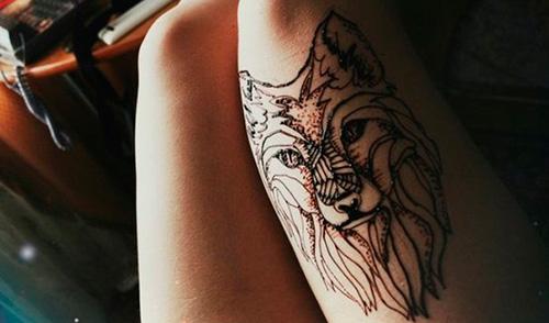 Мехенди волк на ноге