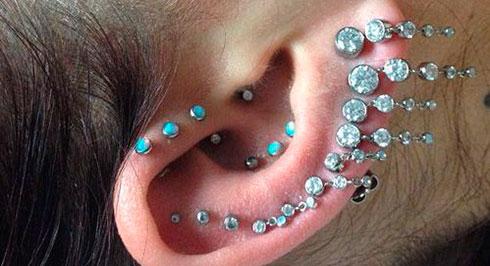 различные места прокола уха