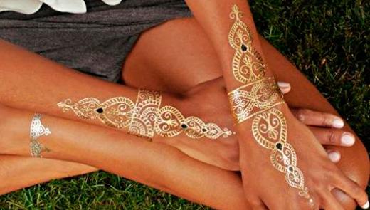 Золотые переводные татуировки